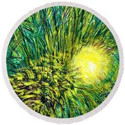 Palm Sunburst  Round Beach Towel