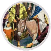 Palm Sunday Round Beach Towel by Clive Uptton