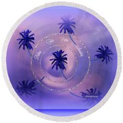 Round Beach Towel featuring the digital art Palm Sunday by Sherri Of Palm Springs