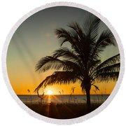 Palm Sunset Round Beach Towel
