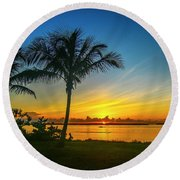 Palm Tree And Boat Sunrise Round Beach Towel