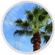 Palm Tree, Blue Sky, Wispy Clouds Round Beach Towel