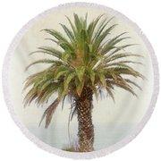 Palm Tree In Coastal California In A Retro Style Round Beach Towel