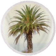 Palm Tree In Coastal California In A Retro Style Round Beach Towel