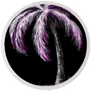 Palm Tree In Pink Round Beach Towel