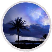 Palm Tree Nights Round Beach Towel