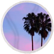 Palm Trees Silhouette At Sunset Round Beach Towel