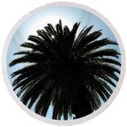 Palm Tree Silhouette Round Beach Towel