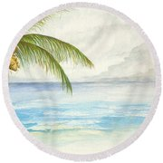 Round Beach Towel featuring the digital art Palm Tree Study by Darren Cannell