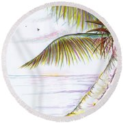 Round Beach Towel featuring the digital art Palm Tree Study Three by Darren Cannell
