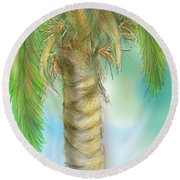 Round Beach Towel featuring the digital art Palm Tree Study Two by Darren Cannell