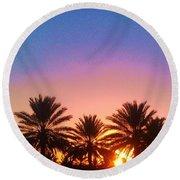 Palm Tree Sunset Round Beach Towel