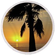 Palm Tree Sunset Round Beach Towel by Jim And Emily Bush