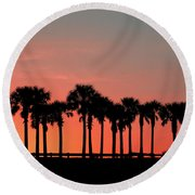 Round Beach Towel featuring the photograph Palm Tree Sunset by Joel Witmeyer