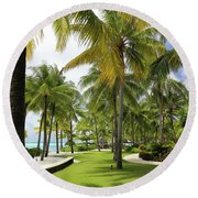 Palm Trees 2 Round Beach Towel