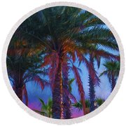 Palm Trees 3 Round Beach Towel