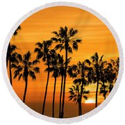 Round Beach Towel featuring the photograph Palm Trees At Sunset By Cabrillo Beach by Randall Nyhof