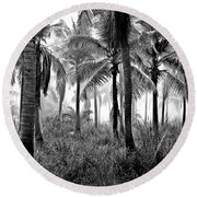 Palm Trees - Black And White Round Beach Towel