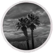 Round Beach Towel featuring the photograph Palm Trees By Borrego Springs In Black And White by Randall Nyhof