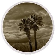 Round Beach Towel featuring the photograph Palm Trees By Borrego Springs In Sepia Tone by Randall Nyhof