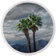 Round Beach Towel featuring the photograph Palm Trees By Borrego Springs In The Anza-borrego Desert State Park by Randall Nyhof