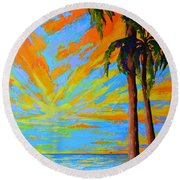 Florida Palm Trees, Tropical Beach, Colorful Sunset Painting Round Beach Towel