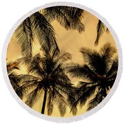 Palm Trees In Sunset Round Beach Towel