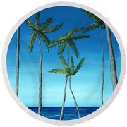 Round Beach Towel featuring the painting Palm Trees On Blue by Anastasiya Malakhova