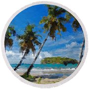 Round Beach Towel featuring the digital art Palm Trees On Sandy Beach by Anthony Fishburne
