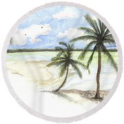 Round Beach Towel featuring the painting Palm Trees On The Beach by Darren Cannell