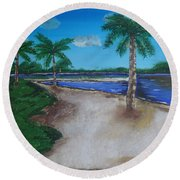 Palm Trees On The Beach Round Beach Towel
