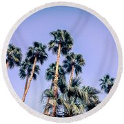 Palm Trees Palm Springs Summer Round Beach Towel