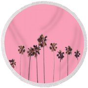 Palm Trees Pink Round Beach Towel