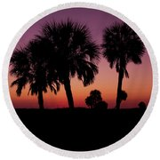 Round Beach Towel featuring the photograph Palm Trees Silhouette by Joel Witmeyer