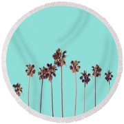 Palm Trees Turquoise Round Beach Towel