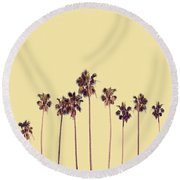 Palm Trees Yellow Round Beach Towel