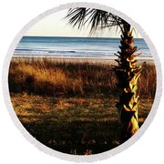Round Beach Towel featuring the photograph Palm Triangle by Robert Knight