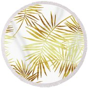 Palmes Dor Golden Palm Fronds And Leaves Round Beach Towel