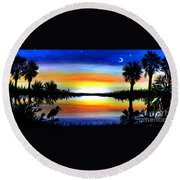 Palmetto Moon Low Country Sunset II Round Beach Towel
