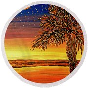 Palmetto Sunset  Round Beach Towel