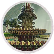 Palms And Pineapples Round Beach Towel