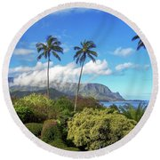 Palms At Hanalei Round Beach Towel by James Eddy