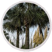 Palms At Lightkeepers Round Beach Towel