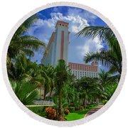 Palms At The Riu Cancun Round Beach Towel