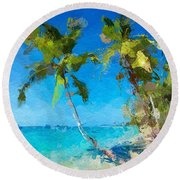 Palms Beach Abstract  Round Beach Towel