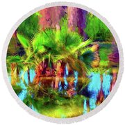Palms In Estuary Round Beach Towel by Gerhardt Isringhaus