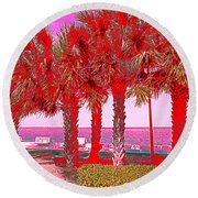 Palms In Red Round Beach Towel