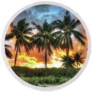 Palms On Fire Round Beach Towel