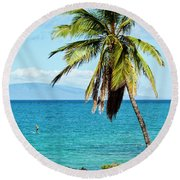 Round Beach Towel featuring the photograph Palms On Hawaiian Beach 12 by Micah May