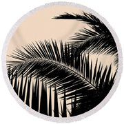 Palms On Pale Pink Round Beach Towel